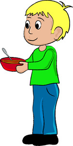 Clip Art Illustration of a Little Boy Holding a Bowl of Soup