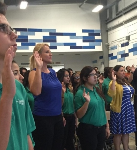 .jpg photo of students taking pledge against Child Abuse