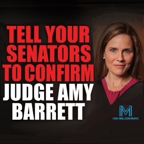 .jpg photo of one million moms confirm Judge Barrett to the U.S. Supreme Court graphic